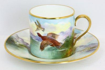 英國明頓瓷器 Minton 手繪紅松雞(Red Grouse)杯盤 畫師簽名 A Holland