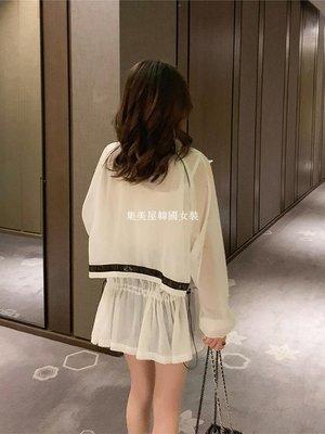 集美屋韓國女裝2019夏季新款正韓透薄長袖白色防曬開衫女小個子寬松抽繩學生外套