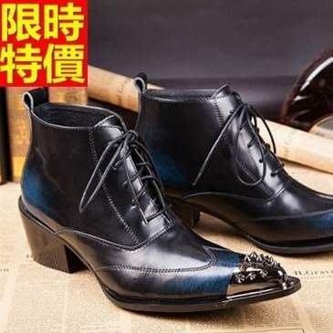 尖頭皮鞋 真皮短靴子-個性鉚釘擦色繫帶增高男鞋子65ai48[獨家進口][米蘭精品]