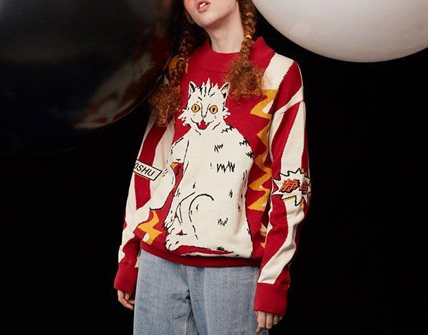 SeyeS  {日本空運} 雜誌街頭個性大阪風精細復古觸電霹靂貓彩色毛衣