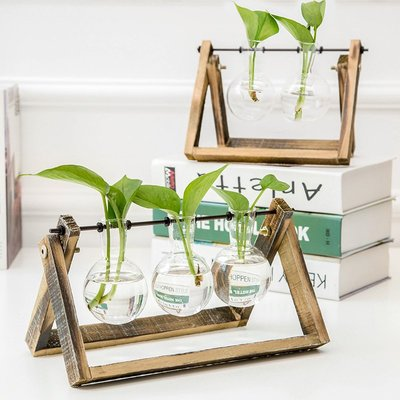 〖洋碼頭〗室內透明水培植物玻璃花瓶 創意辦公室實木容器桌面裝飾文藝擺件 ybj197