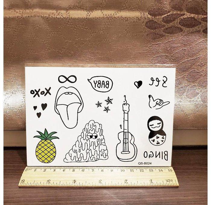 【萌古屋】鳳梨吉他 - 手背防水紋身貼紙刺青貼紙QS-B024 K41