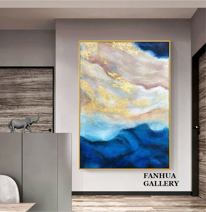 C - R - A - Z - Y - T - O - W - N 純手繪立體抽象肌理金色手繪油畫雲海意境金箔藍海立體觸感油畫高級住宅別墅巨幅油畫裝飾畫設計師款