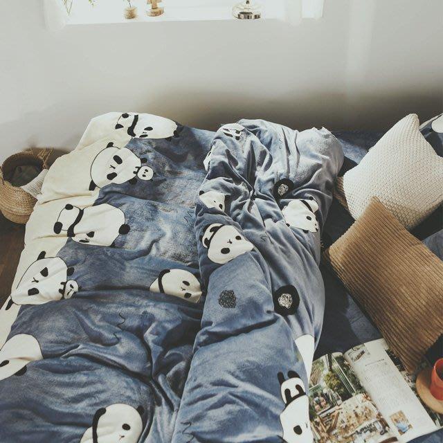 法蘭絨 6尺/雙人加大抗靜電鋪棉床包被套組【胖達】絲薇諾