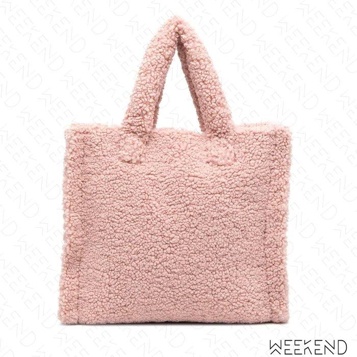 【WEEKEND】 STAND STUDIO 拼接 鋪毛 泰迪熊 異材質 拼接 托特包 淺粉色