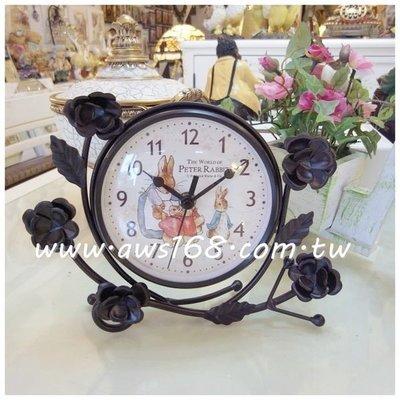 兔媽媽玫瑰鍛鐵桌鐘