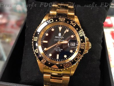 [FDOF] TYPE 2 BAPEX 黑金手錶 日本公司貨