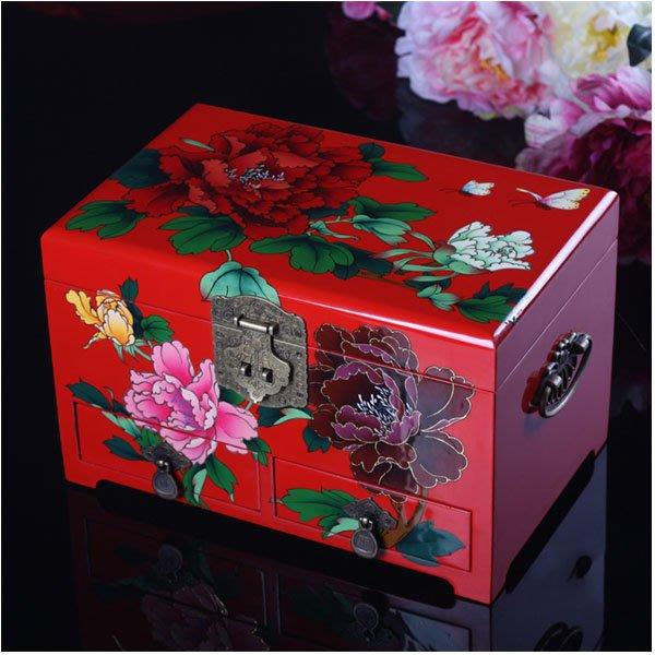 5Cgo【鴿樓】會員有優惠 21752611469 複古首飾盒帶鎖木質結婚首飾裝飾盒飾品盒 古典彩繪漆器珠寶盒櫃