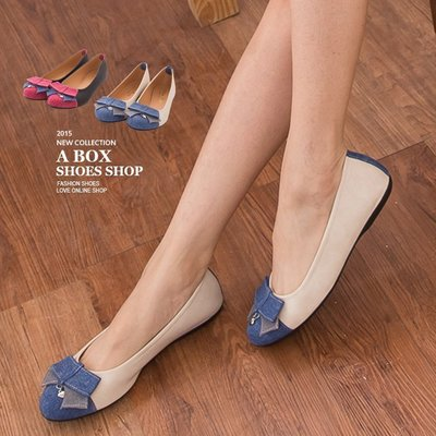 格子舖*【AI830】零碼36.37 MIT台灣製 簡約蝴蝶結牛仔布撞色皮革 平底圓頭包鞋 懶人鞋