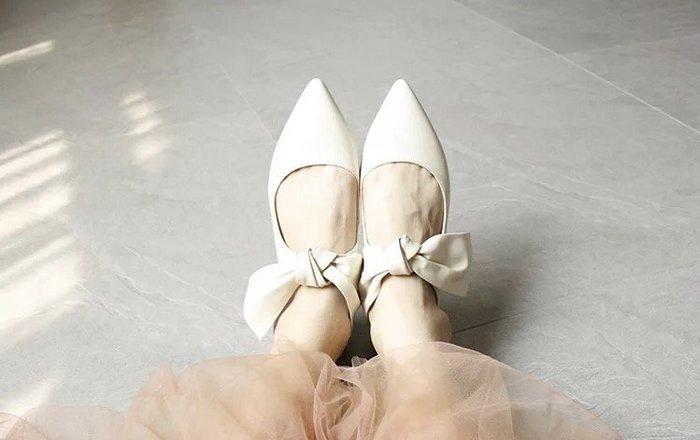NETSHOP 芭蕾舞鞋森林系內裏小羊皮柔軟蝴蝶結低跟鞋 便鞋  兩色