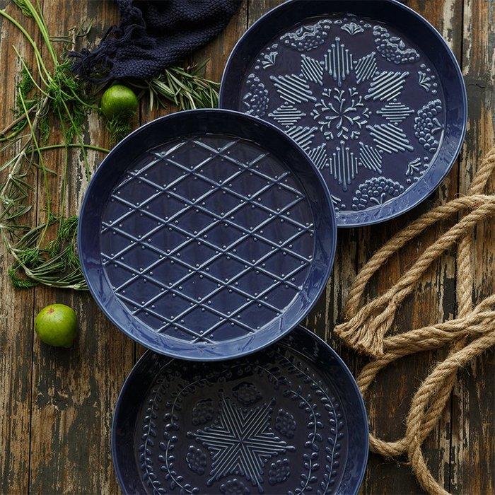MAJPOINT*盤 西餐點心早餐 北歐藍色立體浮雕 花紋陶瓷盤 美式鄉村 烘焙廚房用品 創意料理 婚宴 適用烤箱微波爐