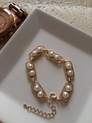 正韓MADE IN KOREA名媛公主甜美氣質珍珠金手鍊手環(已保留)