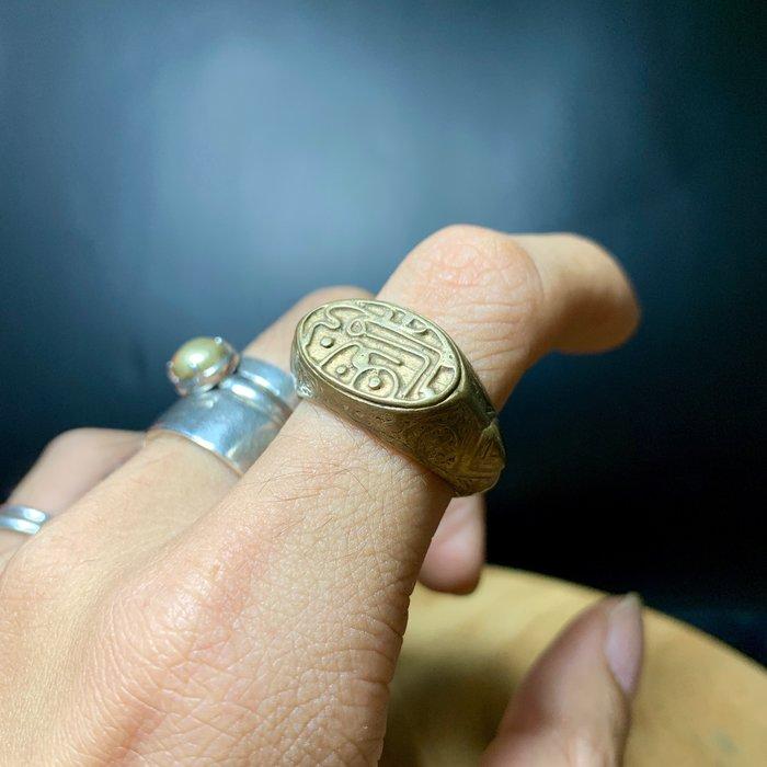 阿富汗老件 純銅 天印 寬版戒指