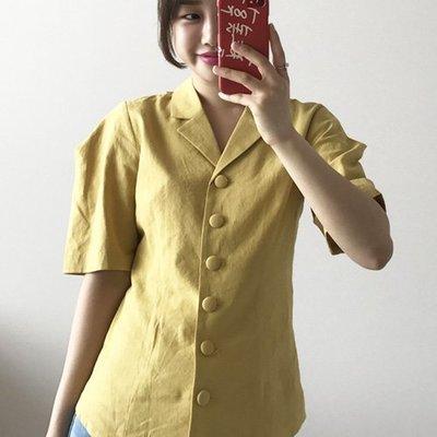 西裝外套歐美風 成熟挺面線條感排釦上衣 艾爾莎【TAE6695】