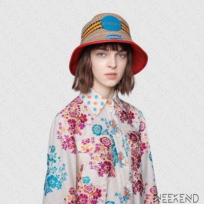 【WEEKEND】 GUCCI Mykonos 異材質拼接 編織 皮革滾邊 漁夫帽 629599 紅色 男女同款