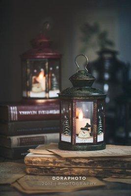復古鐵藝圣誕燭台圣誕樹雪人電子蠟燭節日擺件家居裝飾