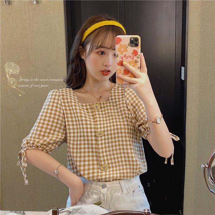 小香風 短袖T恤 時尚穿搭 小清新設計感方領系帶格子學生寬松短袖襯衫上衣女裝