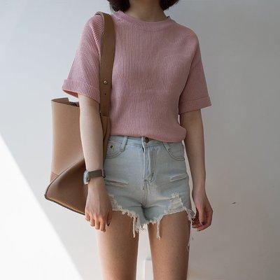春夏女裝韓版純色基礎款針織衫修身短袖簡約T恤上衣打底衫學生潮