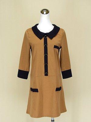 ◄貞新二手衣►OVER LAP 日本品牌 駝色圓領長袖棉質洋裝M號(62038)
