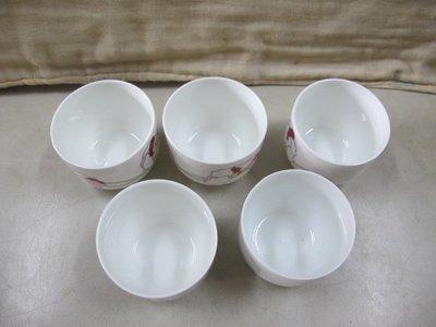 二手舖 NO 2848 牡丹花瓷杯 泡茶茶具 杯子 五個一標 只要150元