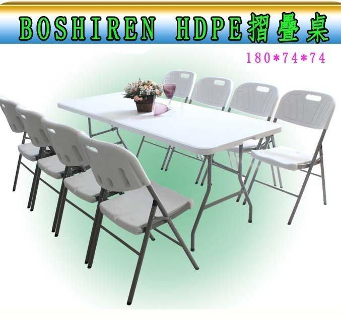 正廠BOSHIREN(180*74 附桌面固定安全開關鎖) 大HDPE摺疊桌 會議桌 野餐桌 展示桌 擺攤桌 行動桌