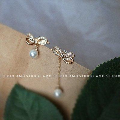 精緻life 翩翩 925銀鑲鋯石蝴蝶結耳環不對稱長款流蘇珍珠吊墜耳釘