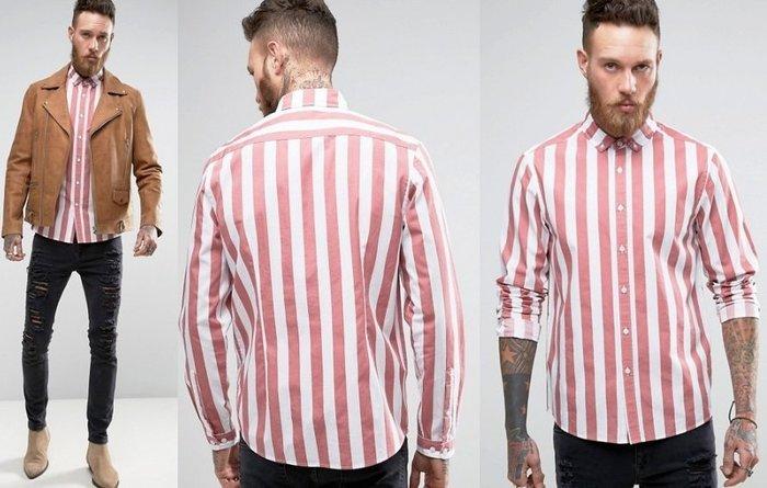 ◎美國代買◎ASOS粉紅偏寛版條紋印花歐美雅痞風純棉條紋長袖襯衫~歐美街風~大尺碼