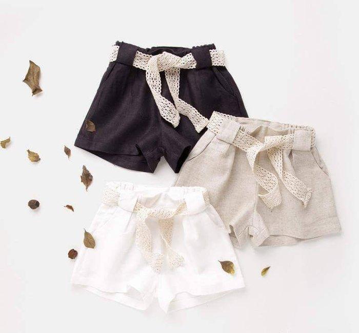 出清夏日款。女童裝。韓版百搭短褲 (白色/卡其/黑色) 現貨~nanakids娜娜童櫥