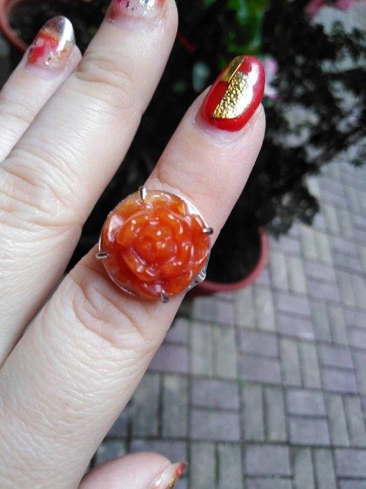 天然緬甸玉A貨 紅翡 花朵 925銀 戒指