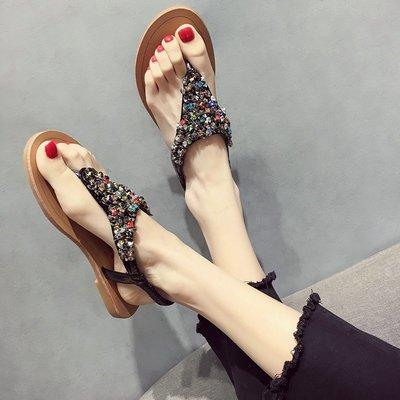 小尤家~ins涼鞋女外穿夏季新款防滑水鉆韓版百搭平底夾趾沙灘羅馬鞋