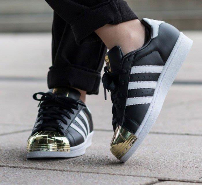 [Roen羅恩代購] Adidas Originals Superstar Metal Toe 金屬頭系列皮革帥氣女板鞋 黑金