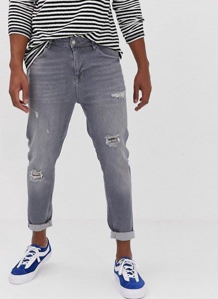◎美國代買◎ASOS刷破裝飾微寛鬆剪裁英倫時尚頹廢風灰刷色高腰刷破牛仔褲~歐美街風~大尺碼~