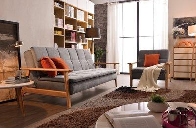 優質推薦---韋恩沙發床(加贈抱枕)/三人沙發/橡膠木實木/可拆洗/可刷卡/免運---巧家家具