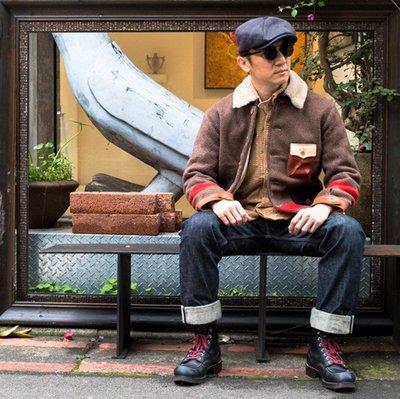 就是愛古著日本Sturdy 瑞士軍用毛毯羊毛櫪木皮拼接夾克