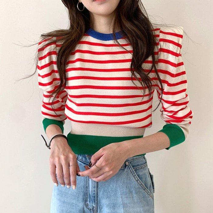 SeyeS 韓系優雅個性配色滾邊泡泡袖設計感條紋針織上衣