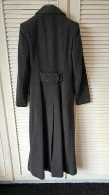 KOOKAI 羊毛+喀什米爾羊毛 鐵灰色雙排釦長大衣
