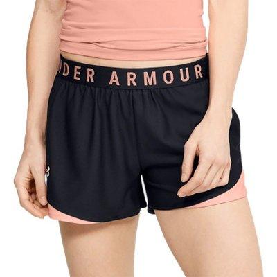 [麥修斯]UA  Play Up 3.0 短褲 慢跑 健身 排汗 速乾 拼接 黑粉 女款 1344552-016