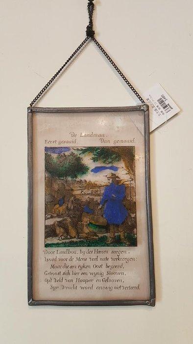 【卡卡頌 OMG歐洲跳蚤市場 / 西洋古董 】歐洲 老件 錫框玻璃 彩色 鄉村 掛畫 g0246