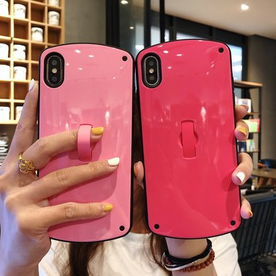蘋果手機殼 蘋果x手機殼xr簡約純色8plus橢圓7plus女款xsmax支架6splus日韓6plus情侶手機殼iphonex歐美8p全包7p