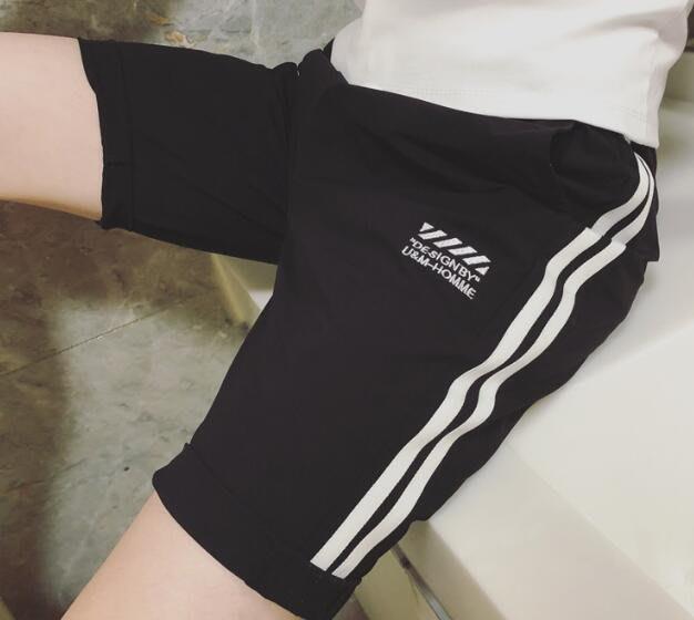 韓系韓版潮流豎條貼布短褲男士百搭五分褲 C251