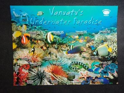 【 亂世奇蹟 】2004年萬那杜 熱帶海洋生物 - 自粘性郵票小型張
