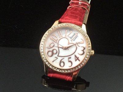168錶帶配件 /歐風深海珍珠母貝面板水晶鑽石英錶鱷魚皮壓紋18mm錶帶石英機心,玫瑰金色錶殼下標區