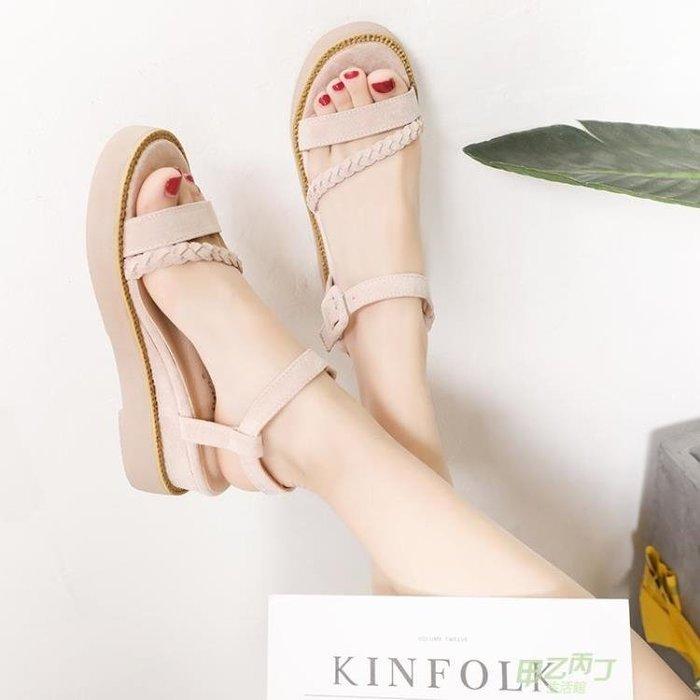 交換禮物 夏季新品舒適羅馬厚底涼鞋女厚底楔形鬆糕鞋正韓百搭高跟一字帶軟