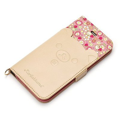 尼德斯Nydus~* 日本正版 拉拉熊 懶熊 翻頁皮套 可放卡片 手機殼 4.7吋 iPhone 6/6S -牛奶妹