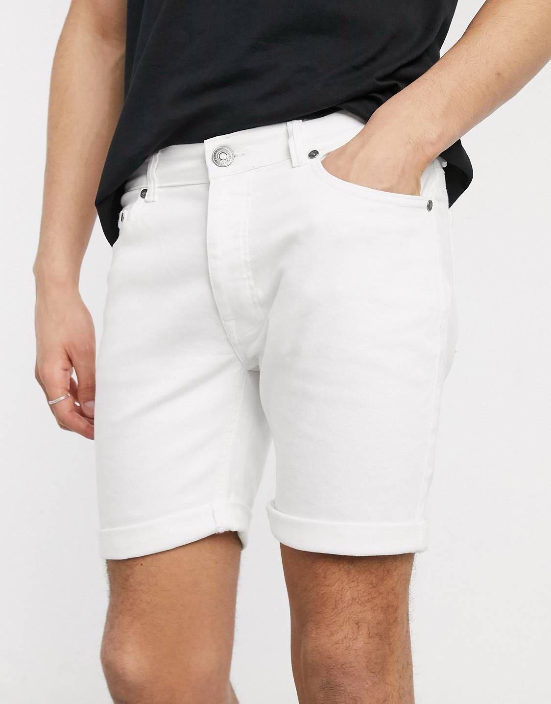 boohooMAN skinny fit shorts 白短褲 牛仔褲 緊身 全新30腰