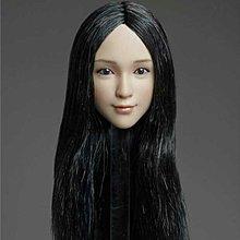 1:6 黑色 自然 直 長髮 Kawaii 可愛系 少女 figure 女頭雕 一個 新 hottoys kumik phicen body 自組 兵人 適用
