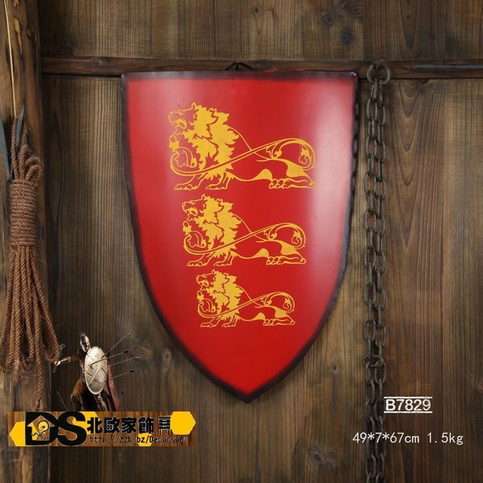 DS北歐家飾§loft工業風古羅馬盾牌鉚釘 紅獅子壁飾掛飾玄關壁掛酒吧仿舊復古美式鄉村 中世紀帝國 裝潢設計風格個性