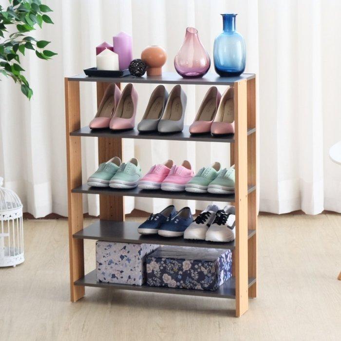 四丁目DL-3086GN-加寬四層美背開放式收納架 (灰色+原木色)/鞋架/罝物架