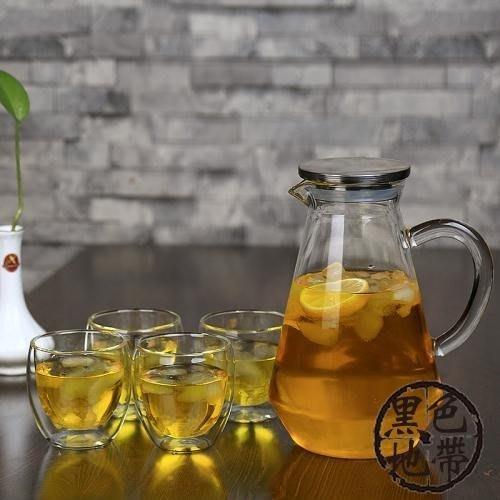 大容量耐高溫冷水壺加厚耐熱玻璃果汁壺家用防爆涼白開水壺透明