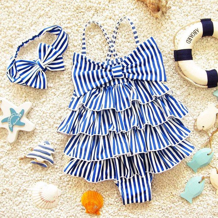 【小阿霏】兒童連身泳衣 三色女童甜美荷葉條紋一件式泳裝 女孩寶寶夏日連體泳衣SW86